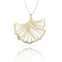 Necklace Ginkgo Biloba XL Pendant Gold