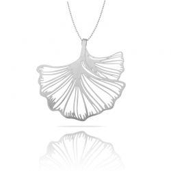 Necklace Ginkgo Biloba Silver XL Pendant
