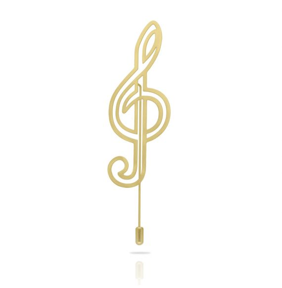 Brooches Brooch Treble Clef XL Gold