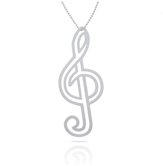 Necklace Clave de Sol Silver XL Pendant