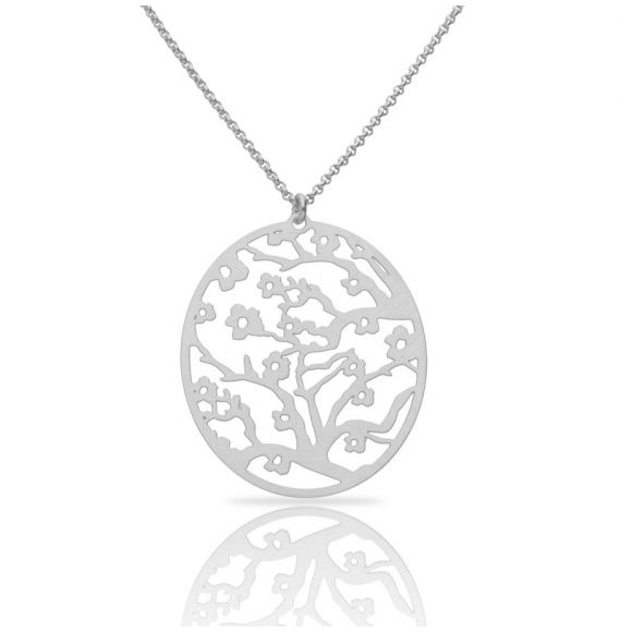 Necklace Almond Blossom Silver Short Pendant