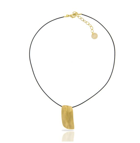 Zen Rectangle Gold Short Pendant