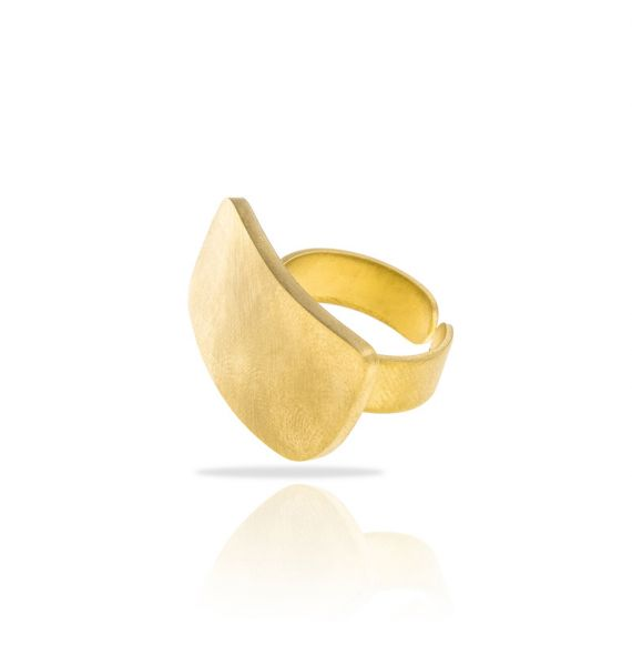 Short Rectangle Zen Gold Ring