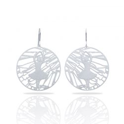 Ballet Silver Round Earring