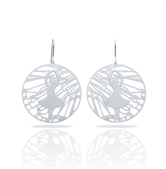 Earrings Ballet Silver Round Earring