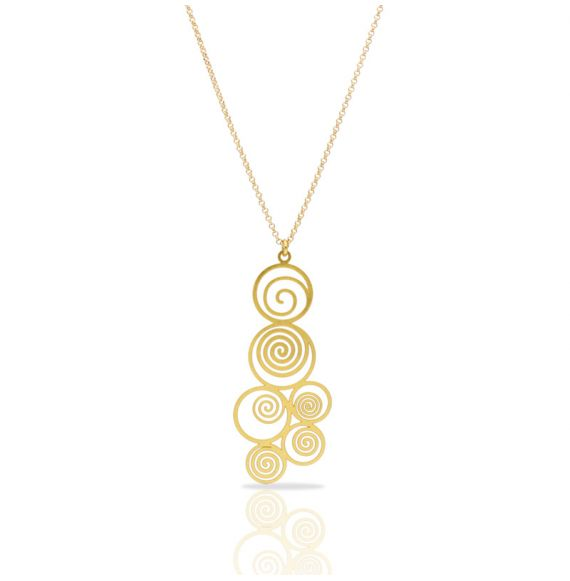 Necklace Spiral Gold Short Pendant