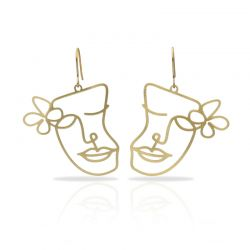 Cubism Flower Gold Earring