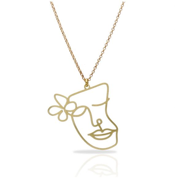Cubism Flower Gold Short Pendant